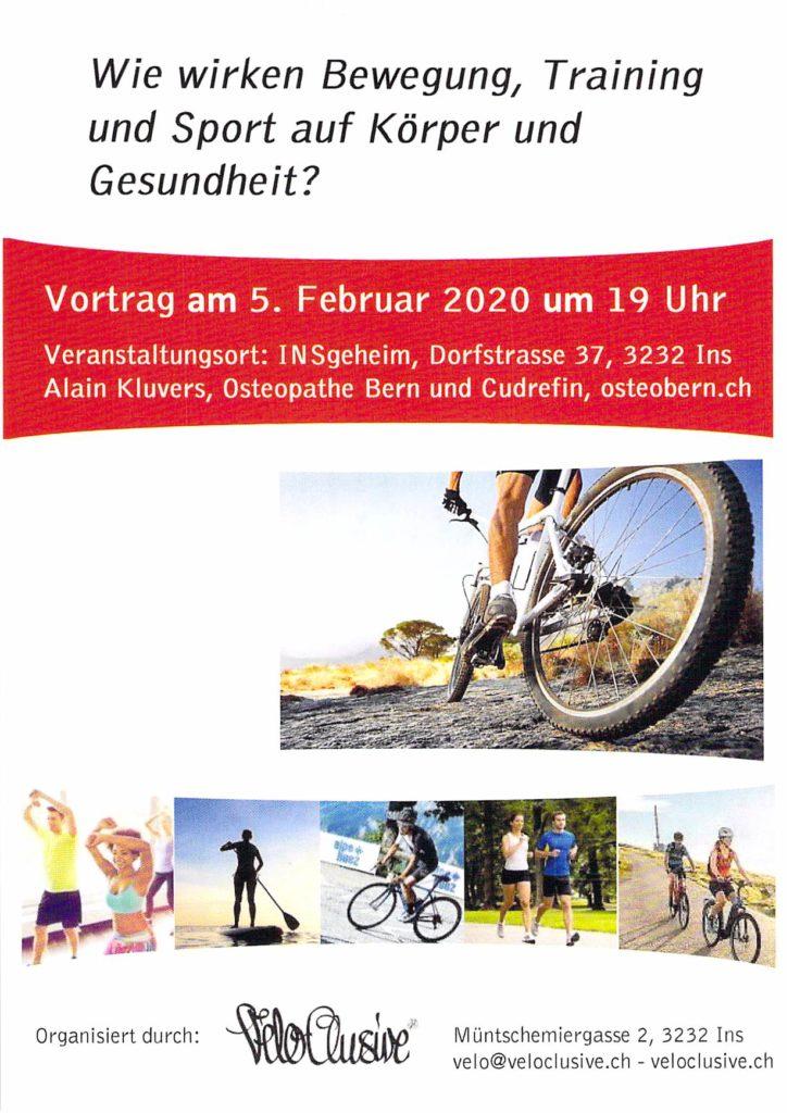 Vortrag Sport ist Medizin, Osteopathie Bern/Cudrefin, Alain Kluvers
